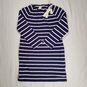Crewcuts 12 Dress Long Sleeve Navy Blue Bow Stripe